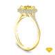 14K Yellow Gold Antique Scroll Design Diamond Engagement Ring Yellow Sapphire Top View