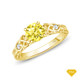 14K White Gold Dual Band Accent Diamond Engagement Ring Yellow Sapphire Finger View