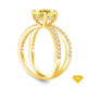 14K Yellow Gold Split Shank Double Halo Accents Engagement Ring Yellow Sapphire Top View