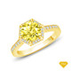 14K White Gold Love Knot With Side Accents Ring Yellow Sapphire Finger View