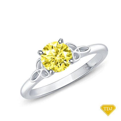 14K White Gold Romancing Love Knot Diamond Solitaire Ring Yellow Sapphire Top View