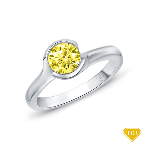 14K White Gold Cascade Waves Style Engagement Ring Yellow Sapphire Top View