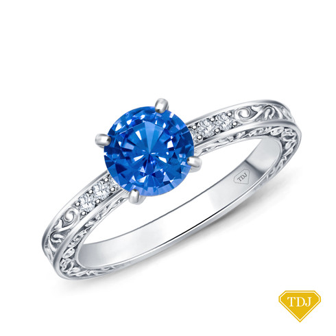 14K White Gold Antique Scroll Engraving Engagement Ring Blue Sapphire Top View