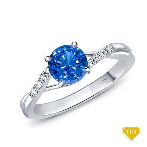 14K White Gold Delicate Tapered Pave Set Engagement Ring Blue Sapphire Top View