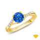 14K White Gold A Contemporary Interwine Ribbon Diamond Solitaire Ring Blue Sapphire Finger View