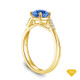 14K Yellow Gold A Contemporary Interwine Ribbon Diamond Solitaire Ring Blue Sapphire Top View