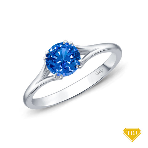 14K White Gold A Contemporary Interwine Ribbon Diamond Solitaire Ring Blue Sapphire Top View