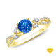 14K White Gold Marquise Blue Sapphire Accents - Leaves  and Vine Style Engagement Ring Blue Sapphire Finger View