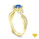 14K Yellow Gold Marquise Blue Sapphire Accents - Leaves  and Vine Style Engagement Ring Blue Sapphire Top View