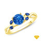 14K White Gold A Nature Inspired Leaves Marquise Blue Sapphire & Round Diamond Ring Blue Sapphire Finger View