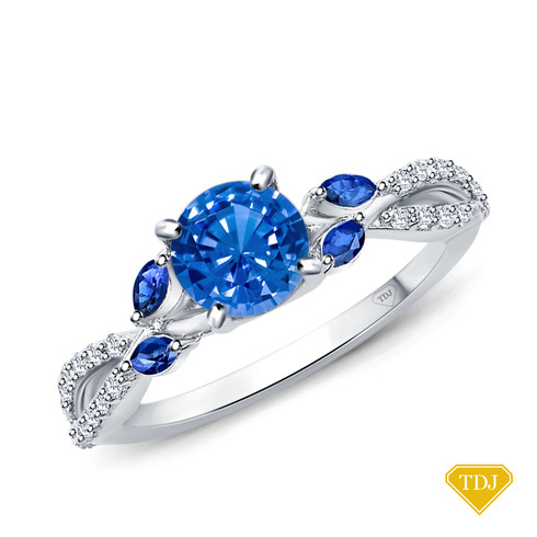 14K White Gold A Nature Inspired Leaves Marquise Blue Sapphire & Round Diamond Ring Blue Sapphire Top View
