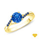 14K White Gold Half Way Accents Diamond Engagement Ring Blue Sapphire Finger View