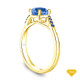 14K Yellow Gold Half Way Accents Diamond Engagement Ring Blue Sapphire Top View