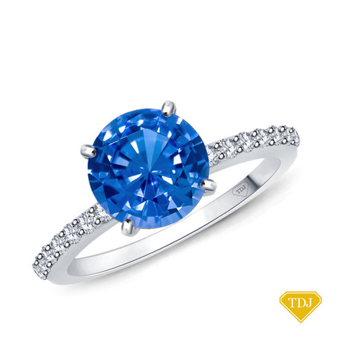 14K White Gold Half Way Accents Diamond Engagement Ring Blue Sapphire Top View