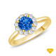 14K White Gold Flower Inspired Halo Accents Engagement Ring Blue Sapphire Finger View