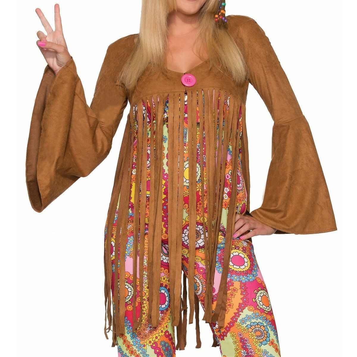 groovy sweetie hippie adult costume fringe vest jumpsuit flower