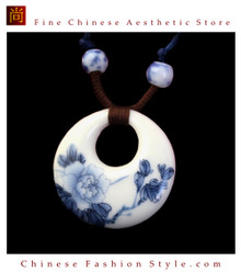 Deluxe Porcelain Pendant Necklace Jewelry 100% Handcrafted Jingdezhen Art #107