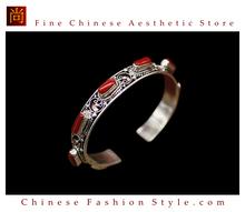 Fine Tibetan Turquoise Coral Jewelry 925 Silver Charm Bracelet 100% Handcraft #101