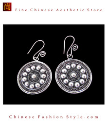 Tribal Silver Earrings Chinese Ethnic Hmong Miao Jewelry #105 Uniquely Handmade