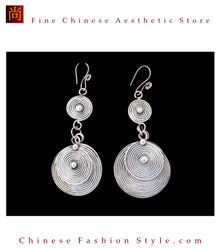Tribal Silver Earrings Chinese Ethnic Hmong Miao Jewelry #106 Uniquely Handmade