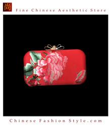 100% Hand Embroidery Handbag Purse Clutch Evening Bag #302