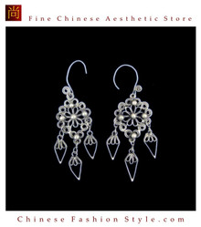 Tribal Silver Earrings Chinese Ethnic Hmong Miao Jewelry #324 Uniquely Handmade