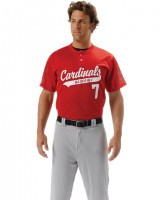 A4  Adult 2-Button Mesh Henley Baseball Jersey N4130