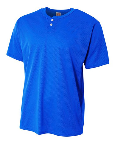 A4  Adult 2-Button Mesh Henley Baseball Jersey