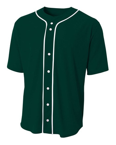A4 Adult Short Sleeve Full Button Baseball Top