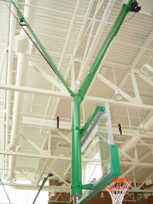 Gared Ceiling Hung Angled Basketball Backstop, Rear Fold and Braced
