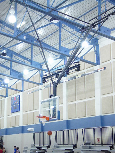 Gared Ceiling Hung Angled Basketball Backstop, Forward Fold and Braced