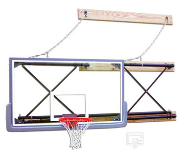 Gared Side-Fold, Wall Mounted Basketball Backstop with Backboard and Goal