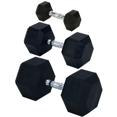 Rubber Encased Solid Hex Dumbbell 55lb