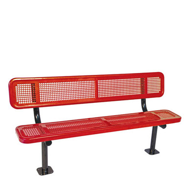 8' Bench w/ Back-Surface Mnt Perforated