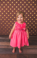 Brown and Gold Dot Photography Backdrop - Metallic Gold Dot Photo Backdrop - Item 2224
