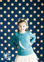 Navy Blue Gold Glitter Polka Dot Photo Backdrop - Item 2188