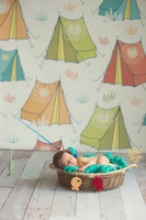 Camping Theme Backdrop for Photography - Tent Photo Background for Kid's Pictures - Item 1509
