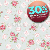 CLEARANCE - VINYL 5ft x 5ft Shabby Blue Rose Backdrop for Photography - Flower Print Photo Backdrop - Floral - Item 1275