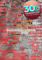 CLEARANCE - VINYL - 5ft x 7ft Broken Brick Wall Photo Backdrop – Red Brick Photography Backdrop – Item 1752