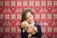 Red and White Cross Stitch Christmas Photography Backdrop - Item 2166
