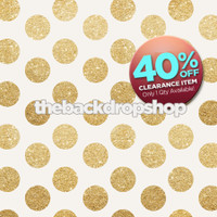 CLEARANCE - VINYL - 8ft x 8ft Gold Glitter Dot Backdrop - Polka Dot Photo Background - Holiday Back Drop - Exclusive Design - Item 2120