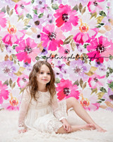 Pink and Purple Flower Wallpaper Photo Prop - Pink Poppy Photography Prop - Item 3070