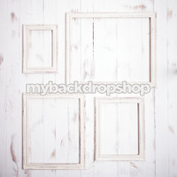 Frames on White Wood Photography Backdrop - Off White Wood Photo Prop - Item 3071