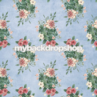 Blue Antique Floral Wallpaper Photography Backdrop - Item 3096