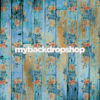 Distressed Blue Floral Wood Backdrop for Photos - Item 3099