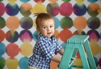 Colorful Watercolor Polka Dot Photography Backdrop for Kids - Children's Photo Session Prop - Item 3123