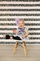 Black and White Stripe Photography Backdrop - Glittery Backdrop for Prom Photos - Item 3125