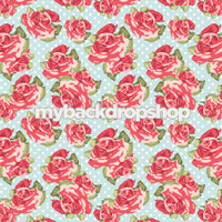 Vintage Pink and Blue Floral Wallpaper Backdrop - Flower Backdrop for Photos - Item 3161