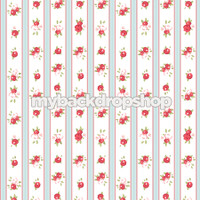White and Blue Striped Floral Wallpaper Photography Backdrop - Red Rose Flower Photo Prop - Item 3162