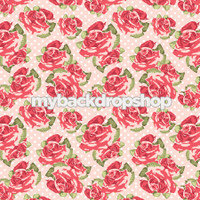Pale Pink Floral Wallpaper Backdrop - Flower Backdrop for Photos - Pastel Pink and White Dot Flower Backdrop - Item 3164